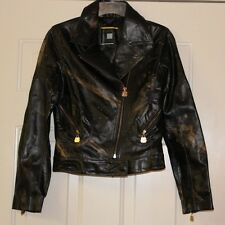 Azzure Women's Small Genuine Leather Motorcycle Style Jacket Black & Gold NWT!