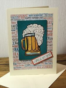 Handmade Fathers Day Card Beer Cheers To You  5x7 Inch.
