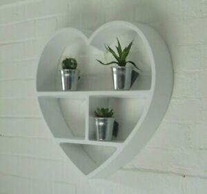 Large White Heart Display Multi Shelf Shelves Modern Wall Unit Lounge / Bedroom