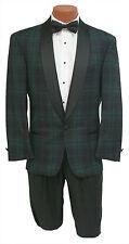 Retro Mens Black Watch Plaid Navy & Green 1 Btn Shawl Tuxedo Fashion Jacket