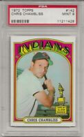 1972 TOPPS #142 CHRIS CHAMBLISS, PSA 9 MINT,  ROOKIE, RC, CLEVELAND INDIANS L@@K