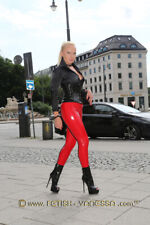 Damen Hose / Fetish Elastic M Latex Look PU Legging Red Rot Rouge Leather Slick