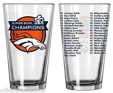 Denver Broncos Super Bowl 50 Champions NFL ROSTER 16-Ounce Pint Glass - SET OF 2