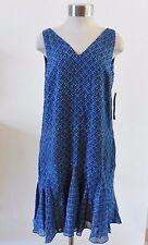 Ralph Lauren Sleeveless V Neck Shift Dress Blue Geometric Print 8 NWT $140