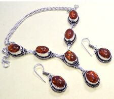 """Blastic Amber 925 Silver Overlay Necklace & Earrings Set Jewelry 20 """" Inch A"""