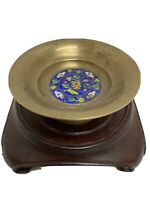 Antique Cloissone Enameled Brass Round Compote dish Asian Chinese