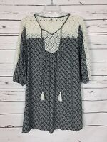 Ya Los Angeles Boutique Women's S Small Black Ivory Lace Spring Tunic Top Blouse