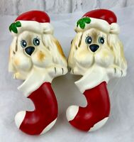 Vintage Christmas Around The World Ceramic Dog Stocking Hangers Shelf Sitters