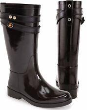 Genuine Coach Authentic Tara Brown Chestnut Waterproof Gloss Shiny Rain Boots 10