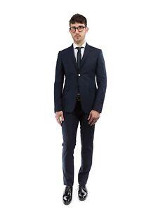 Completo Elegante Abito Uomo TRUSSARDI 52U00006 Blu Navy, Antracite Slim Fit 50