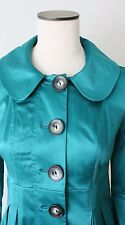 BCX Macys Womens Jacket Stretch Fitted Flare Bottom Trench Coat Size M Emerald