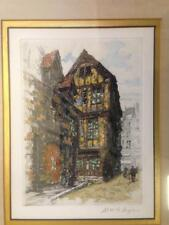 Numbered and Signed Print of a De La Broye Etching - Street Scene - Color