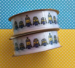 """Minions Offray Ribbon Polyester 7/8"""" x 9' Despicable Me Characters Hair Bows Lot"""