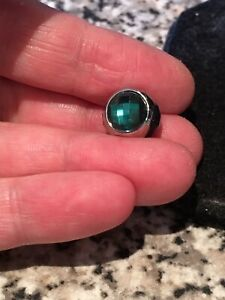 Stunning Emerald Radiance Droplet Crystal Charm 18k White Gold Filled