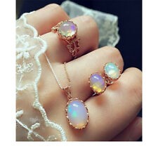 Fashion Women Rose Gold Plated Crystal Opal Necklace Ring Earrings Jewelry Set