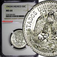 Mexico ESTADOS UNIDOS MEXICANOS Silver 1943 M 50 Centavos NGC MS64 KM# 447