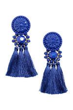 H&M Fashion Earrings Tassels Festival Ibiza Statement Bold Bloggers Blue