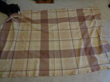 Vtg Continental Airlines First Class Passenger Brown/Tan Plaid Blanket Wool