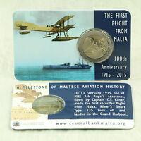 2 Euro Gedenkmünze Münze Coincard Malta Erstflug 2015 mit Münzzeichen Mintmark