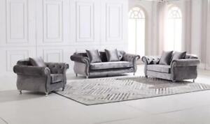 THE NEW CHESTERFIELD SOFA GREY 3 2 AND 1