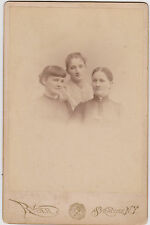 Victorian Mom and Daughters 1891 Names on back CABINET PHOTO !!! WOW