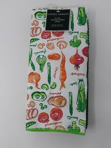 Laura Ashley 3 Veggies allover kitchen Towels Microfiber Green Multi Color
