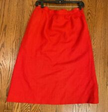 EVAN PICONE Skirt Vintage Size 12 Red 100% Wool Union Made Lined Pockets