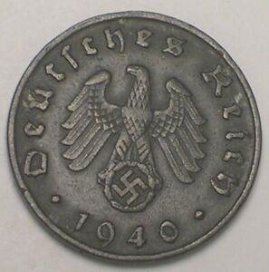 1940 B German Germany 10 Reichspfennig WWII Era Swastika Coin