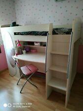 Lit combiné mi-hauteur avec bureau, penderie, armoire, miroir, pour fille, SCIAE