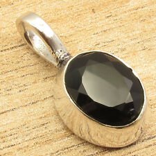 "Onyx Silver Plated Jewelry 1"" Natural Gemstone Pendant, Exclusive Cut Black"
