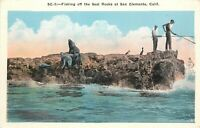 Vintage Postcard Fishing from Seal Rocks at San Clemente CA Orange County