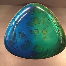 Enamel on Copper Signed Hilary Triangular Modernist Blue Green Fade Large 10.75""
