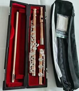 USA ''WEIBSTER'' Rose Gold Plating Flute 17 Open Holes Offset-G Key Handmade
