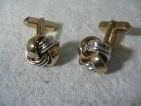 Gold & Silver Tone KNOT DESIGN Vintage Men's Cufflinks ~ Made by Swank ~