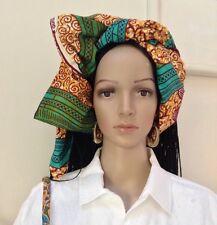 Trendy African Wax Head Tie/ Wrap/Scarf. 44''X34'', Multicolor, 100% Cotton.