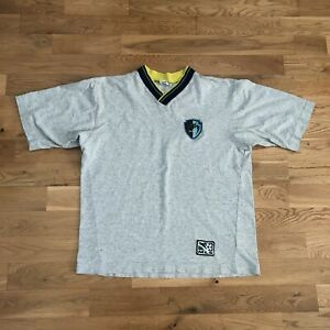 Vintage 90's Tampa Bay Mutiny Nike MLS Soccer Logo V-Neck T-Shirt Small Made Usa