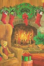 """A """"Stockings Over The Fireplace"""" Repro Christmas Holiday Greetings Postcard- 401"""