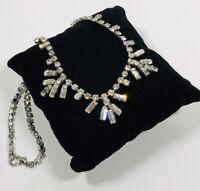 Vintage Necklace Silver Tone Diamante Art Deco Inspired Sparkly Pretty Costume