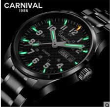 Carnival Men Tritium light  Watch T25 Quartz Date Day Luminous Military Steel