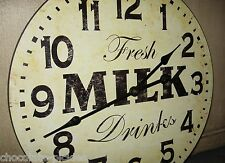 """MILK Wood Wall CLOCK*Farmhouse French Country Kitchen*Primitive Dairy Decor*15"""""""