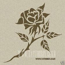 Reusable airbrush temporary tattoo stencil templates - Rose 4 (Medium size)