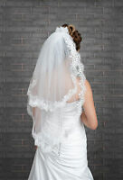 2 Tier Wedding Elbow Length Veil with Lace Edge and Pearls VK-23P