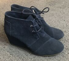 Toms Navy Blue Lace Up Suede Wedges Booties 8.5