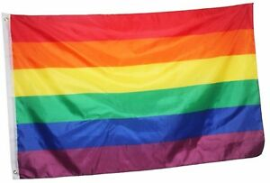 Rainbow Banner Flag - Polyester 80cm x 165cm - Rainbow Mardi Gras Party Supplies