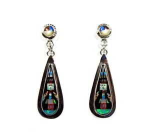 Sterling Silver Southwest Style Multi color Inlay Post Dangle Earrings