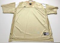 Adidas Men's Extra Large Gold White Jersey Shirt V Neck Short Sleeves 100% Nylon