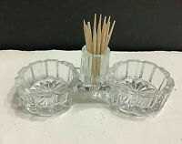 Glass Double Open Salt with Toothpick Holder Vintage