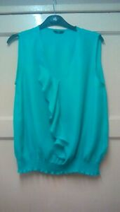 WOMENS LOVELY GREEN SUMMER TOP PETITE SIZE 14 M&CO.OFFERS WELCOME.