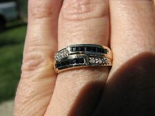 Sapphire Square Cut & Diamond Band Ring 10KT Solid Yellow Gold