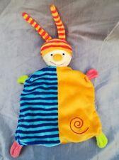 Baby Club C&A Doudou plat Lutin Clown Bleu Raye Rayure bonnet Orange Spirale neu